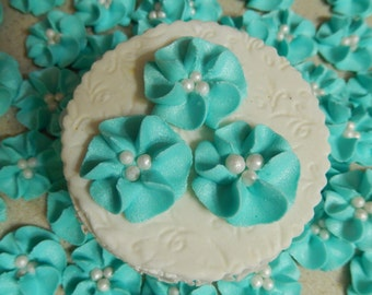 """50 1"""" Light Teal Royal Icing Drop Flowers Edible for cupcakes,cakes,cakepops, cookies"""