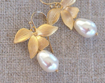 Pearl Earrings - Gold Flower Earrings - White Swarovski Pearl Earrings - Orchid Blossom - Pearl Bridesmaid Earrings - Gold Wedding Jewelry