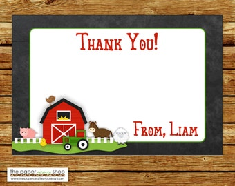 Farm Thank You Card | Farm Birthday Party Thank You Card | Barnyard Bash Birthday Thank You Card | Red Barn and Green Tractor