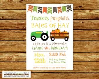 Tractors, Pumpkins, Bales of Hay Birthday Invitation | Green Tractor and Pumpkins Invitation | Fall Birthday Invitation | Tractor Invite