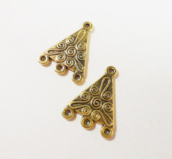 Gold Chandelier Earring Findings 21x16mm Antique Gold Metal Triangle Connector Charms 3 to 1 Earring Connector Findings Jewelry Findings 6pc