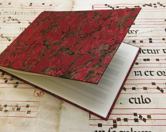 Musical Score book - blank pages - red marbled paper
