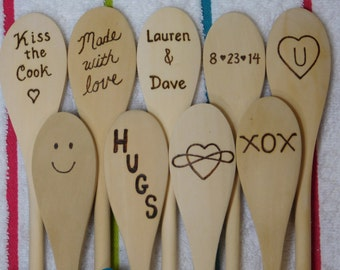 Custom Wooden Spoon Cooking Stirring Baking Love Spoon Gift Heart Name a Date Personalized for You Engraved Wood burned by hand 5 dollars