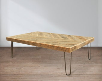 Reclaimed Wood Coffee Table, Chevron Table Small