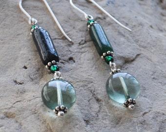 Green Aventurine Fluorite Gemstone Sterling Silver Dangle Earrings