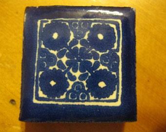 "Cobalt Blue Mexican Talavera Glazed Tile Mini Magnet 1.25"" Square"