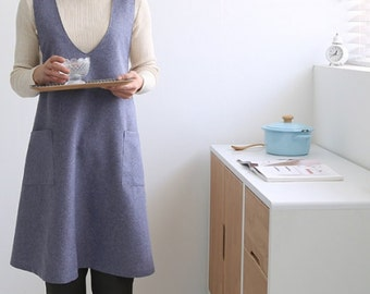 Only United States- It takes 7 days:Free Shipping Chef Works Handmade Apron Japanese style X Button Shape denim smock  Natural  linen APRON