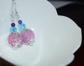 Pink crackle agate earrings
