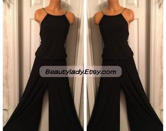 Vintage 1980-90's R&M Richards Black Jumper BodySuit Ladies Sz 12 USA Vintage 1990's Black Camisole Bodice Illusion Dress Pants