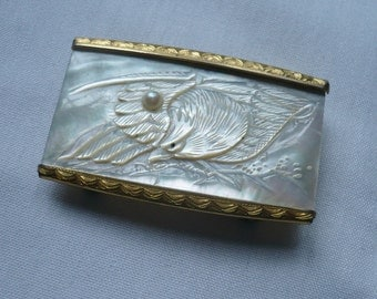 Old Mother Of Pearl Belt Buckle w/Eagle