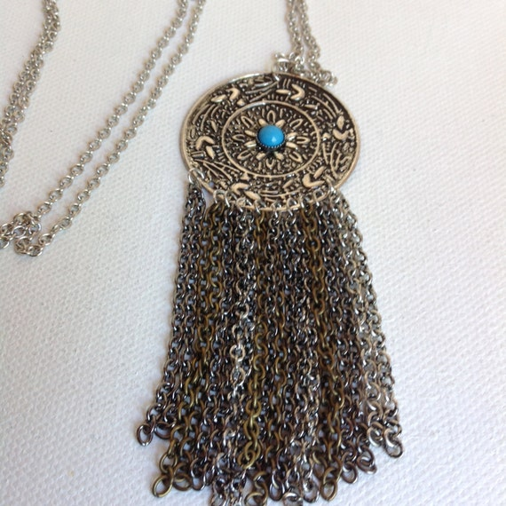 PENDANT NECKLACE - SOUTHWESTERN Silver Pendant With Turquoise Bead and Strands of Chain