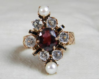 Victorian Ring Garnet Ring Aesthetic Era Pearl Engagement Ring Rose Gold 14K Garnet 1800s Ring Victorian Pearl Ring January Birthstone