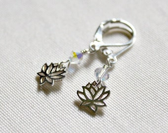 Mothers Day Gift,For Her,Silver Lotus Blossom Earring,Lotus Flower,Birthday Gift,For Best Friend,For Sister,40th Birthday Gift,Unique