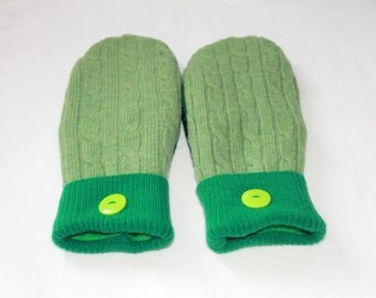 Felted Wool Mittens - Upcycled Wool Mittens  - Sweater Mittens - Green -   Womens -  Size Medium