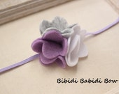 Felt flower headband- Lavender, Gray, White- Baby girl headband- Toddler headband- Infant headband- Hair accessories- Photo prop-