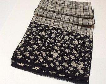 Vintage Silk Scarf, Bill Blass Silk Scarf, Crepe Silk Scarf, Black and Cream, Excellent Condition