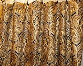 Mill Creek Leesburg paisley Printed Cotton Drapery Fabric by the yard in Flint, 6 yards.Brown, black paisley fabric