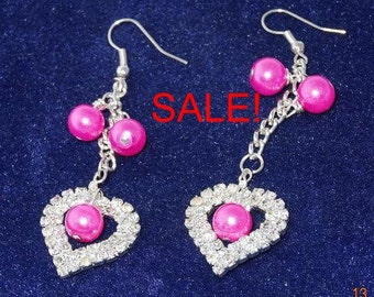 SALE! Hearts and Pearls Earrings