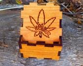 Leaf stash box, (engraved, solid cherry)
