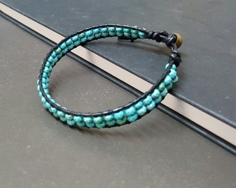 Double Layer Faceted Turquoise Black Leather Bracelet