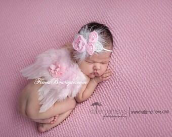 Mini Newborn BABY ANGEL WINGS, Headband Pink White -Photo Prop . Baby Girl Headbands .. Angel Wings .. Baby Bow Headband .. Newborn Headband