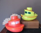 Vintage Pair Tugboat Bath Toys  Bath Time Fun Nautical Theme Photo Prop Display Hard Plastic Boat Ship Tug Boat  1970's