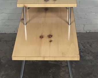 Mid-Century Modern 2-Tier End Table / Nightstand Knotty Pine Laminate - SHIPPING NOT INCLUDED