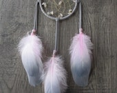 Dream Catcher Grey Deerskin Leather Lacing with Goose Feathers