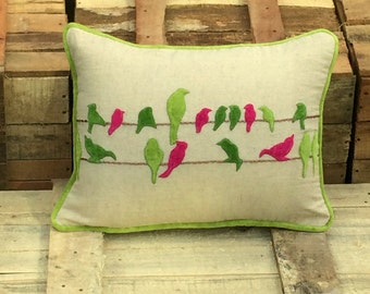 Birds in Line cushion Cover