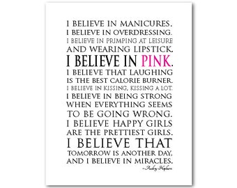 I believe in miracles I believe in pink - Happy girls Audrey Hepburn Quote - Ready to hang canvas - inspirational wall art - teen tween art
