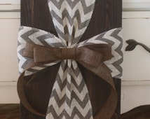 Rustic Burlap Cross Wood Sign Wall Decor - READY TO SHIP!