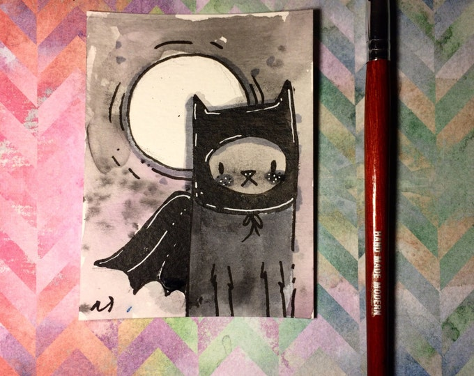 """Watercolor and ink Painting """"Cat Batmam"""" 3x4 inches drawing / decoration."""