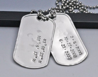 Personalized Dog Tags Necklace Hand Stamped Dog Tags Stainless Steel Dog Tags Necklace Custom Dog Tags Gift for Dad Hand Stamped Jewelry