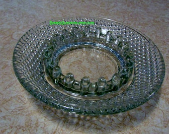 Ashtray, Crystal Hob Nail Pattern, Round Ash Tray, Insert for Stand, Clear Glass ~ BreezyJunction.etsy.com