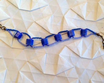 Blue African Glass Bead Bracelet - Cerulean Blue African Glass Hexagonal Beads Woven with Seed Beads - GIFTS UNDER 40 - Gifts for Her -