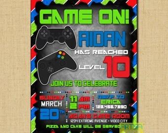 Gaming Invitation, video game invitation, video game birthday, video games invitation DIY, video games party, gaming party invitation DIY