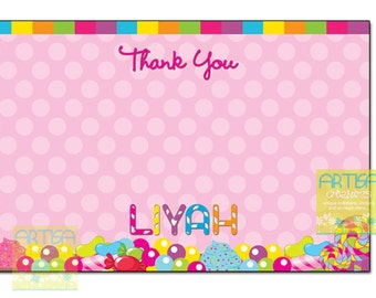 Candy thank you note card, candies thank you card, candy girl thank you note card, candy land thank you card, candy shop thank you card DIY