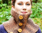 Button Woodland Cowl Handknit Chunky Scarf Wooden Button Browns Unisex One Size Forest Autumn Winter Fashion