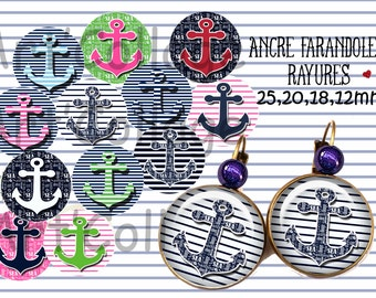 "Digital collage sheets "" Anchor""1 pouce,20,18,12mm,instant download"