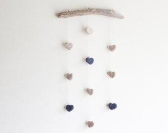 Driftwood Hanging with Felt Hearts -- Rustic Nursery Wall Art Decor -- Unique Baby Shower Gift -- Ready to ship