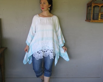upcycled linen tunic lace clothing Summer Lagenlook top Eco Artsy top French shabby Bohemian shirt recycled X Large l X LillieNoraDryGoods