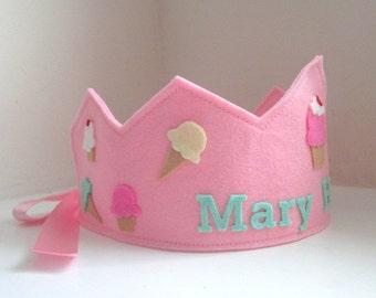 Ice Cream Birthday Crown, Wool Felt Crown, Cupcake Crown, Girl Birthday Crown, Personalized