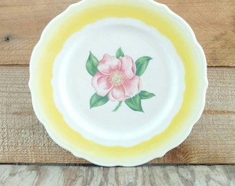 "Airbrushed Restaurant China Wild Rose Plate Syracuse China Old Ivory Yellow Rim Scalloped Edge 9.5"" Diameter Rose Pink"