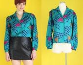 Vintage 80s Geometric Print Blouse - Colorful Teal Shirt - Silky Blouse - Triangle Print Blue Blouse - Long Sleeve Blouse - Size Medium