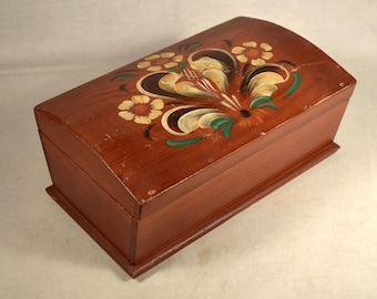 Toleware Wood Box Floral Hand Painted Jewelry Flower Wooden