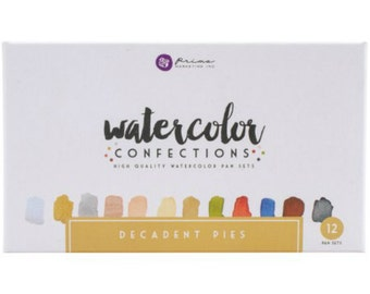 Watercolor Paints - Prima Marketing Confections - Decadent Pies - Half Pans - Tin Palette - Travel Case - Use brush or water pen - 12 colors
