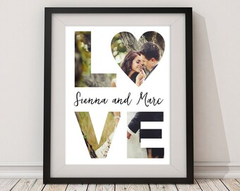 LOVE Paper Anniversary Custom Photo Wall Art Keepsake Print - Gift for Mother's Day, Valentine's Day, Wedding, Christmas, Bridal Shower