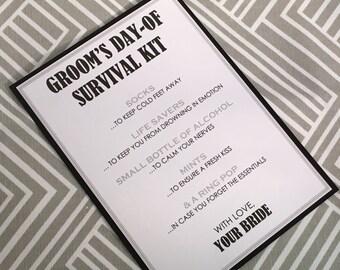 Grooms Survival Kit - 5x7 - Postcard - Hard Copy