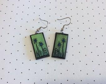 Green Flower Handmade Polymer Clay Earrings with Blue Rhinestone Centers