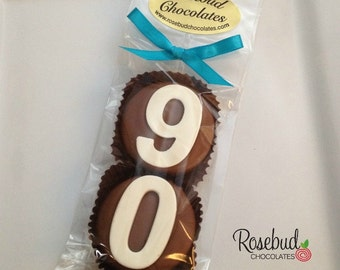 8 Chocolate 90th Double Oreo Cookie Favors Number Ninety Birthday Party Favors Celebration 90